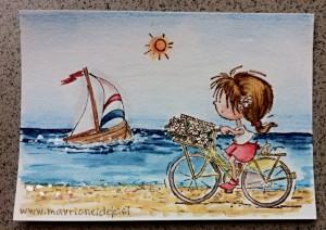 Deklica na kolesu