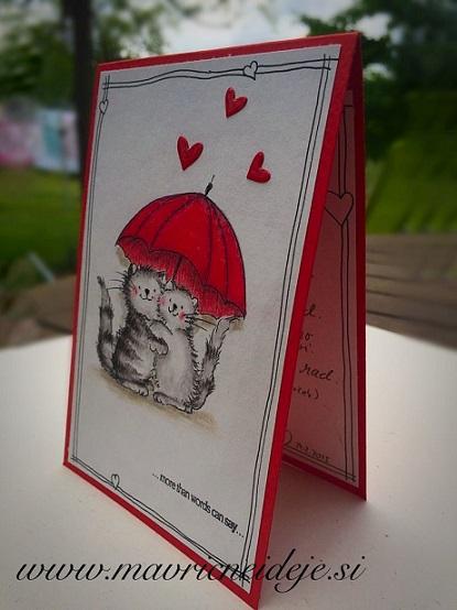 voščilnica za valentinovo - mačka z dežnikom