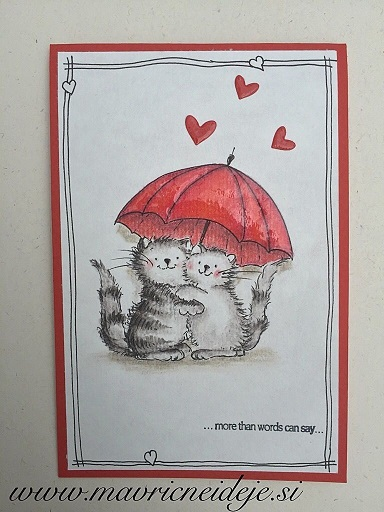 voščilnica za valentinovo - mačka