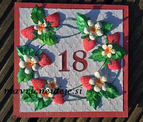 Ročno izdelana voščilnica jagode