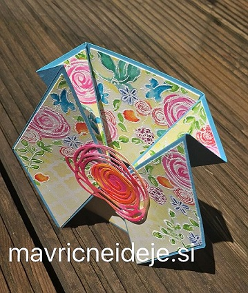Daimond fold swirly bird card