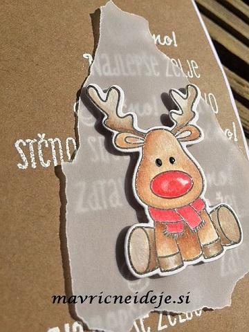 Voščilnica za novo leto štampiljka praznični jeleni