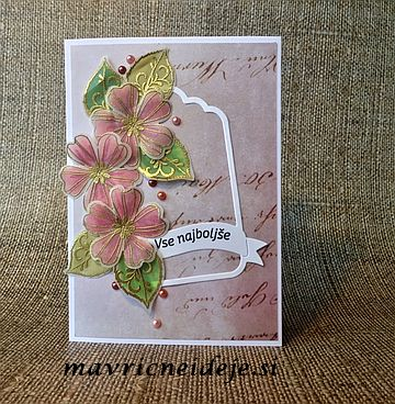 SU! gold embossing flower card