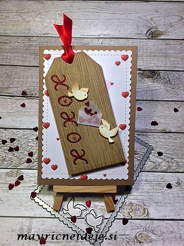 Valentinova voščilnica s tagom in kuverto