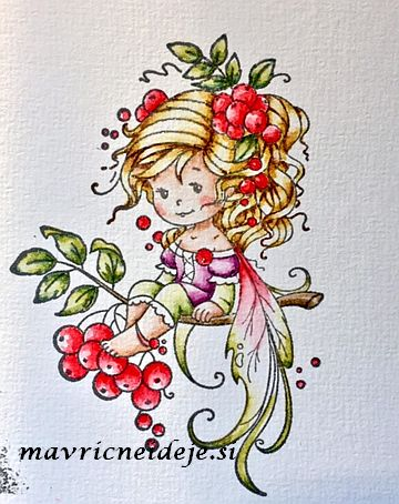 Whimsy stamp, Wee Rowan Fairy, Watecolor with Distress Markers