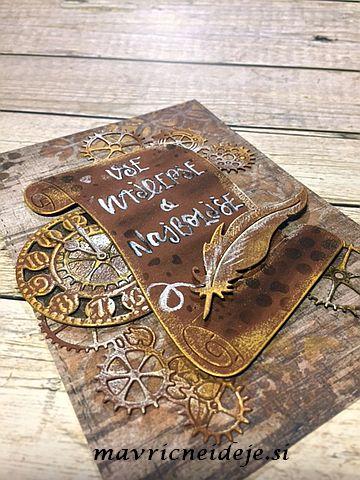 Steampunk feather card