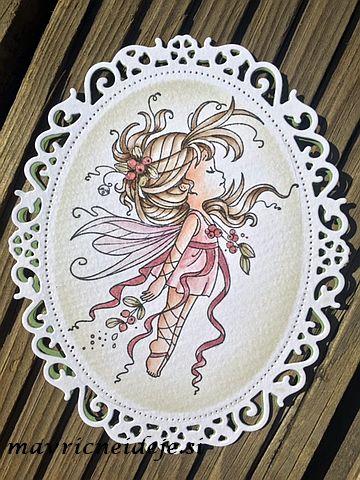 Spellbinders Floral Ovals Mistletoe Fairy card