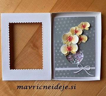 rumene orhideje v škatli