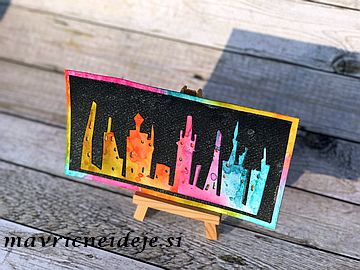 Tim Holtz Cityscape rainbow card
