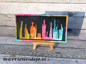 Tim Holtz rainbow Cityscape card
