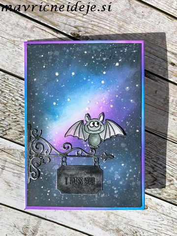 Distress Oxide galaxy sky cute bat card