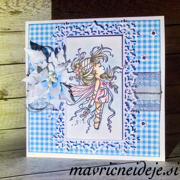 Winter blue mistletoe fairy card