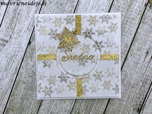 Zlato bela novoletna voščilnica