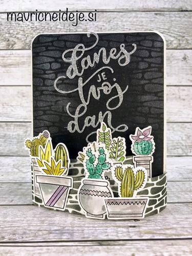 voščilnica s kaktusi 3d