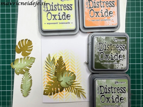 Assambling tropical leaves card