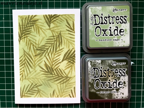Distress Oxide Forrest Moss & Bundled sage background