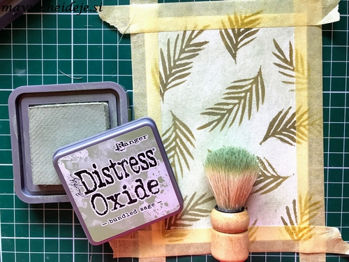 Distress oxide bundled sage, forest moss background