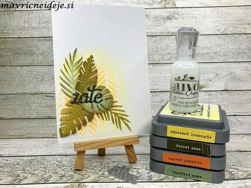 Tropical leaves masculine card